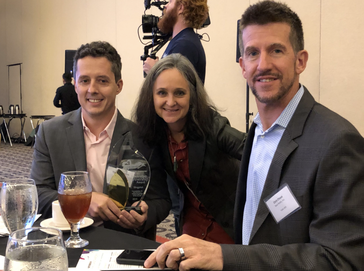 David Galownia (Slingshot), me, and Chris Chase (Discernity) receiving the Innovative Partnership Award from Louisville's Business First's Partners in Philanthropy, August, 2019.